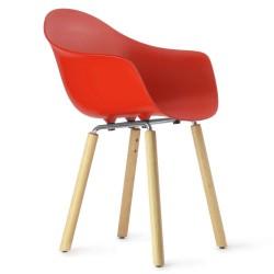 Armlehnstuhl mit Beinen aus Holz TA